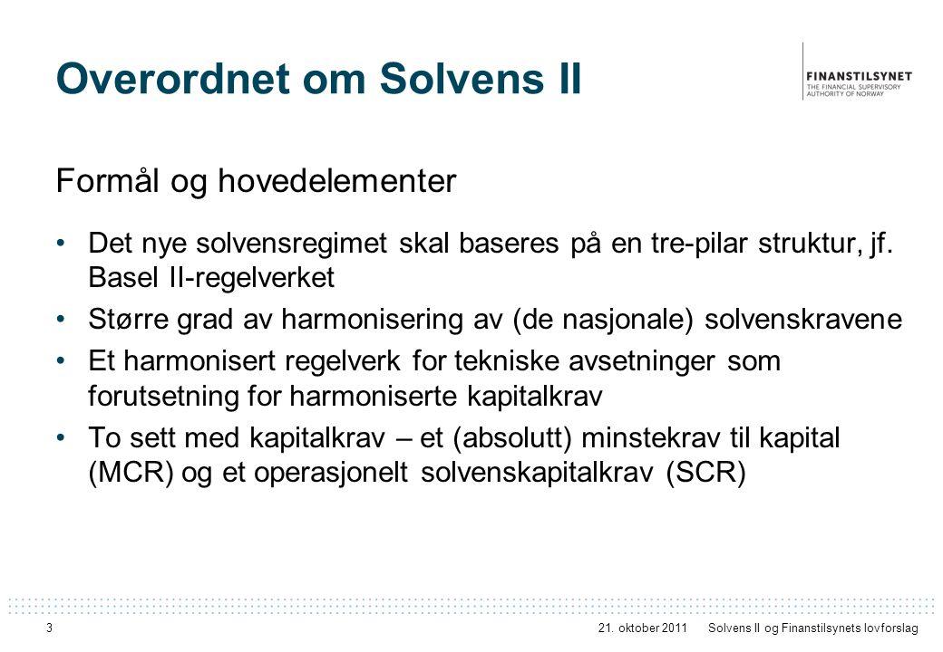 Overordnet om Solvens II Formål og hovedelementer Det nye solvensregimet skal baseres på en tre-pilar struktur, jf. Basel II-regelverket Større grad a