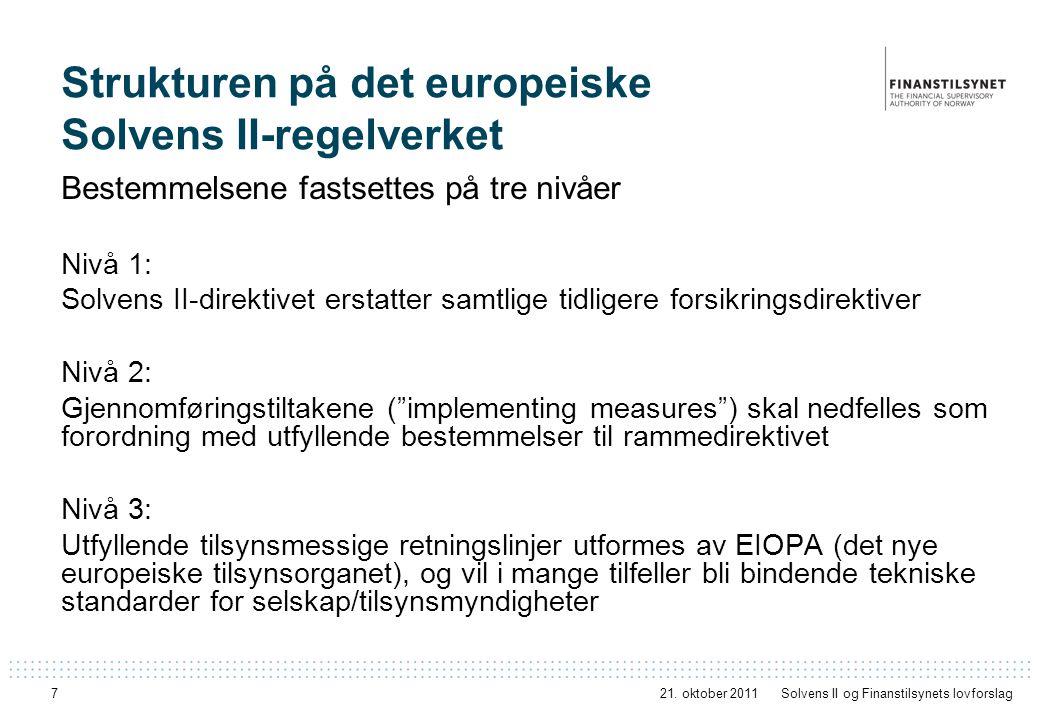 7 Strukturen på det europeiske Solvens II-regelverket Bestemmelsene fastsettes på tre nivåer Nivå 1: Solvens II-direktivet erstatter samtlige tidliger