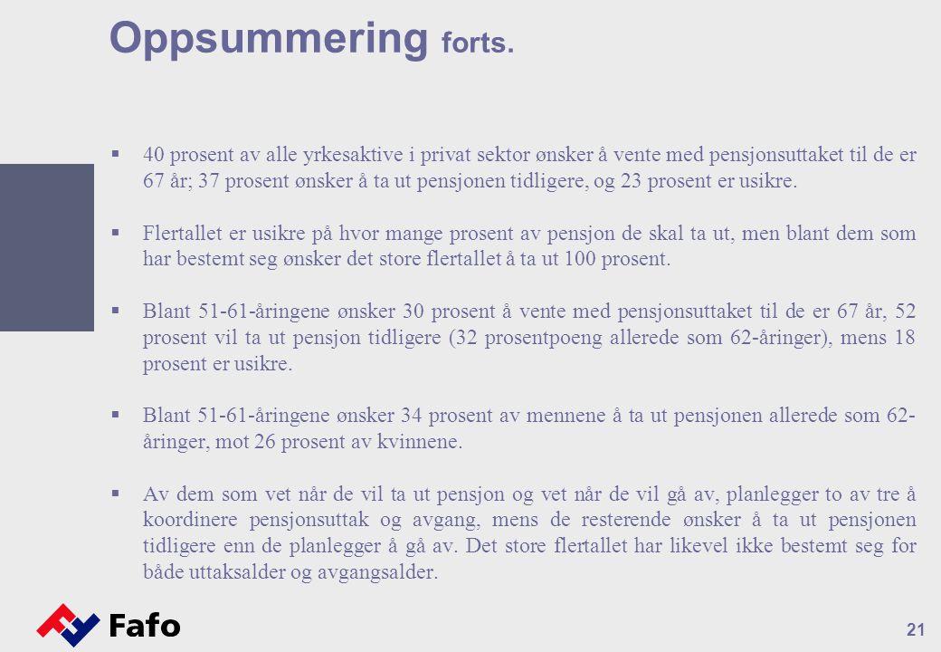 21 Oppsummering forts.