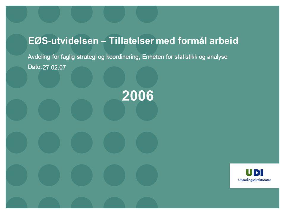 Dato: EØS-utvidelsen – Tillatelser med formål arbeid Avdeling for faglig strategi og koordinering, Enheten for statistikk og analyse 2006 27.02.07