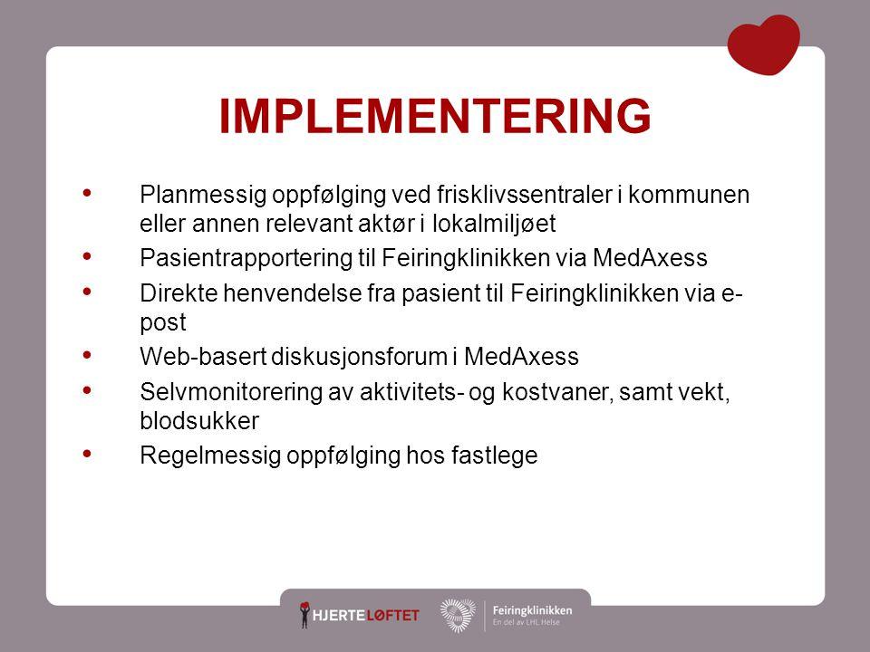 14 IMPLEMENTERING Planmessig oppfølging ved frisklivssentraler i kommunen eller annen relevant aktør i lokalmiljøet Pasientrapportering til Feiringkli