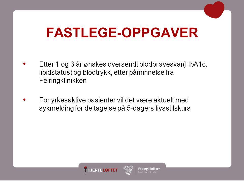 18 FASTLEGE-OPPGAVER Etter 1 og 3 år ønskes oversendt blodprøvesvar(HbA1c, lipidstatus) og blodtrykk, etter påminnelse fra Feiringklinikken For yrkesa