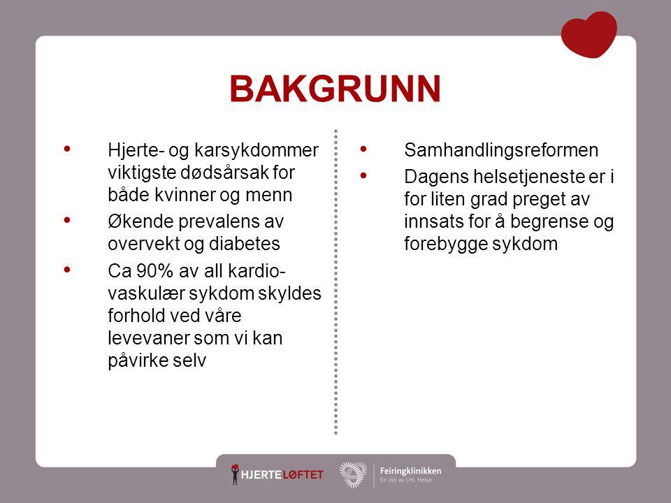 BAKGRUNN Samhandlingsreformen Dagens helsetjeneste er i for liten grad preget av innsats for å begrense og forebygge sykdom Hjerte- og karsykdommer vi