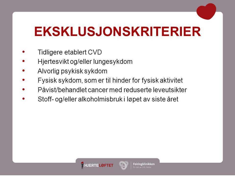9 EKSKLUSJONSKRITERIER Tidligere etablert CVD Hjertesvikt og/eller lungesykdom Alvorlig psykisk sykdom Fysisk sykdom, som er til hinder for fysisk akt