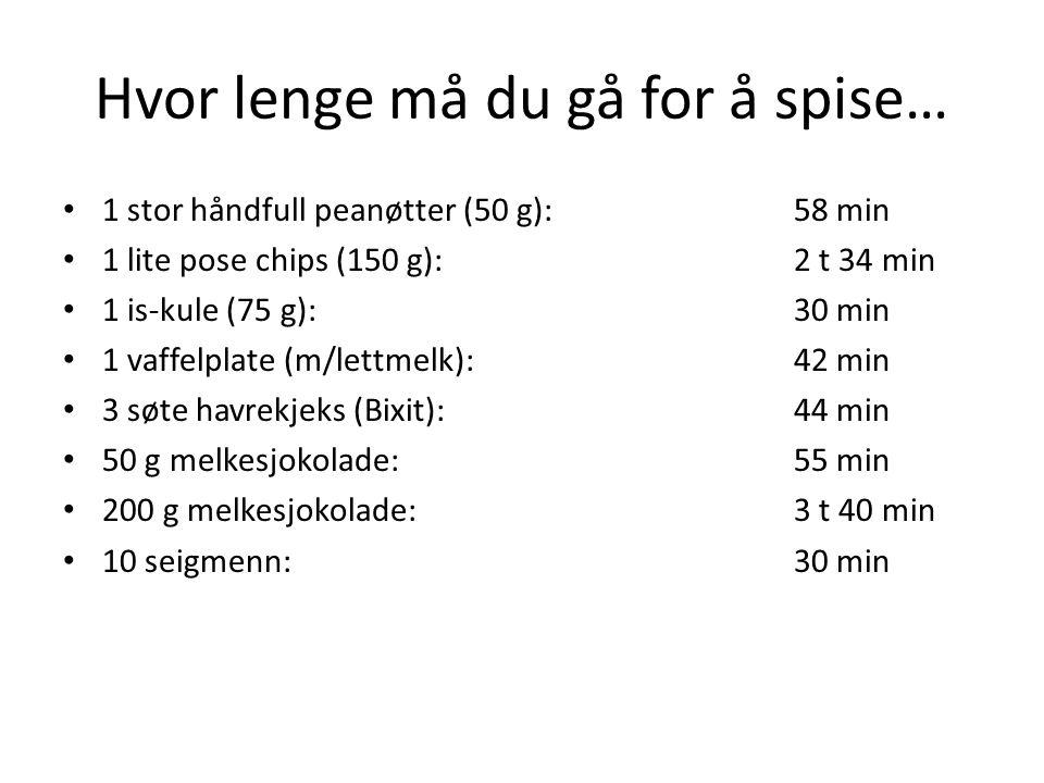 Hvor lenge må du gå for å spise… 1 stor håndfull peanøtter (50 g):58 min 1 lite pose chips (150 g):2 t 34 min 1 is-kule (75 g):30 min 1 vaffelplate (m