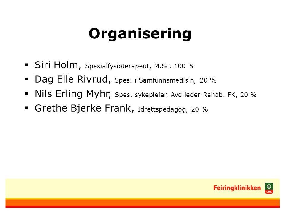 Organisering  Siri Holm, Spesialfysioterapeut, M.Sc.