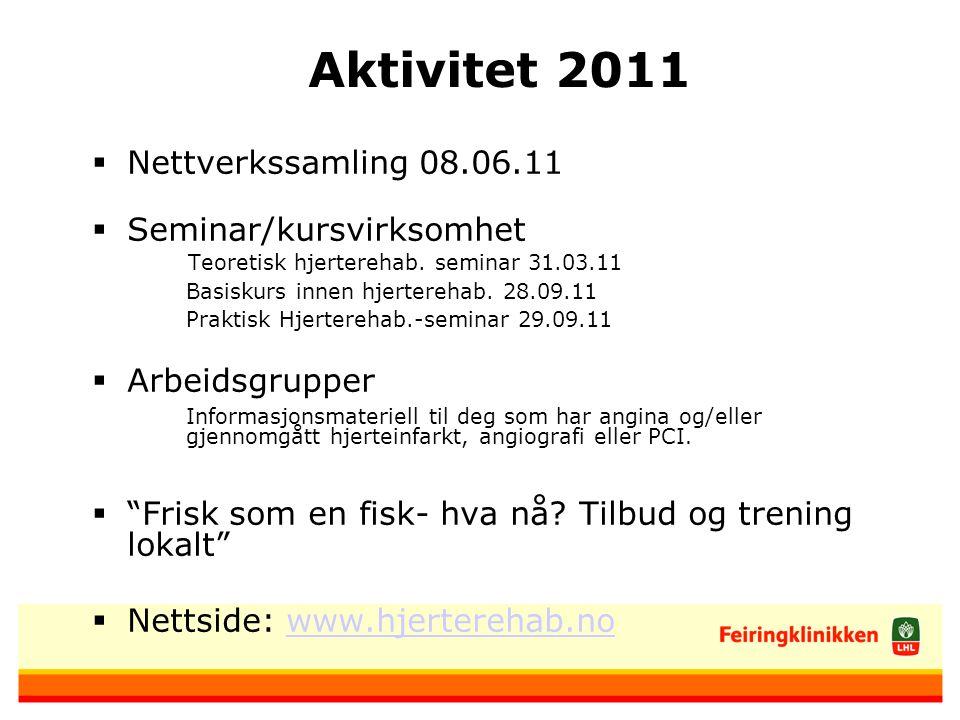 Aktivitet 2011  Nettverkssamling 08.06.11  Seminar/kursvirksomhet Teoretisk hjerterehab.