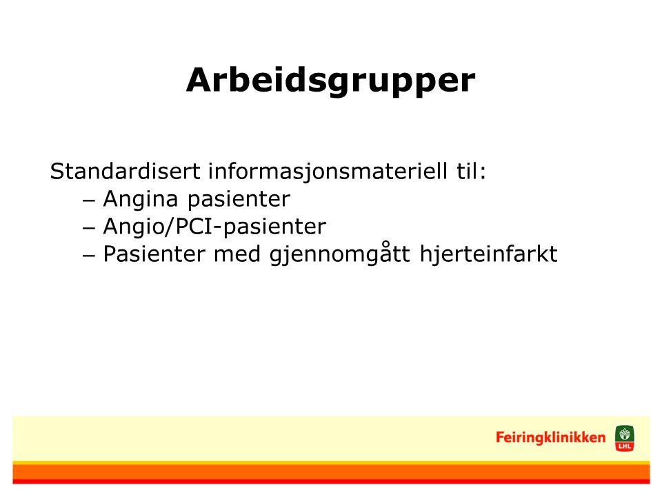 Arbeidsgrupper Standardisert informasjonsmateriell til: – Angina pasienter – Angio/PCI-pasienter – Pasienter med gjennomgått hjerteinfarkt
