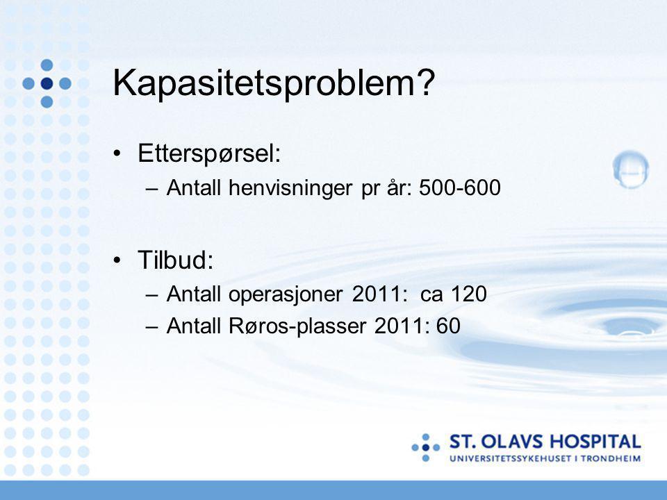 Kapasitetsproblem? Etterspørsel: –Antall henvisninger pr år: 500-600 Tilbud: –Antall operasjoner 2011: ca 120 –Antall Røros-plasser 2011: 60