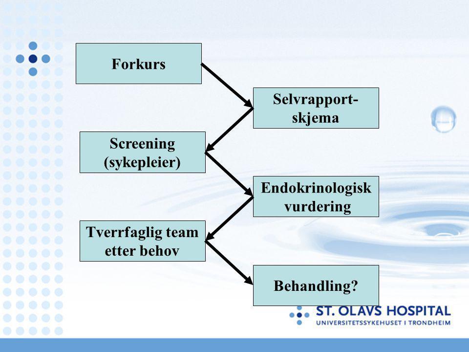 Forkurs Behandling? Selvrapport- skjema Endokrinologisk vurdering Screening (sykepleier) Tverrfaglig team etter behov