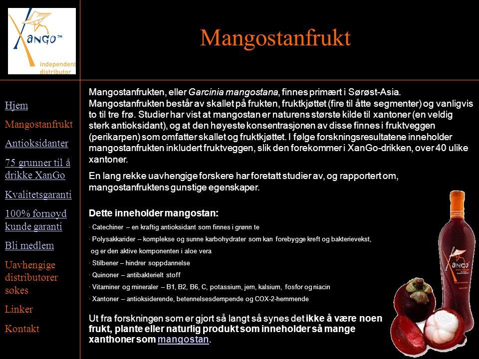 Hjem Mangostanfrukt Antioksidanter 75 grunner til å drikke XanGo Kvalitetsgaranti 100% fornøyd kunde garanti Bli medlem Uavhengige distributører søkes Linker Kontakt Mangostanfrukt Mangostanfrukten, eller Garcinia mangostana, finnes primært i Sørøst-Asia.