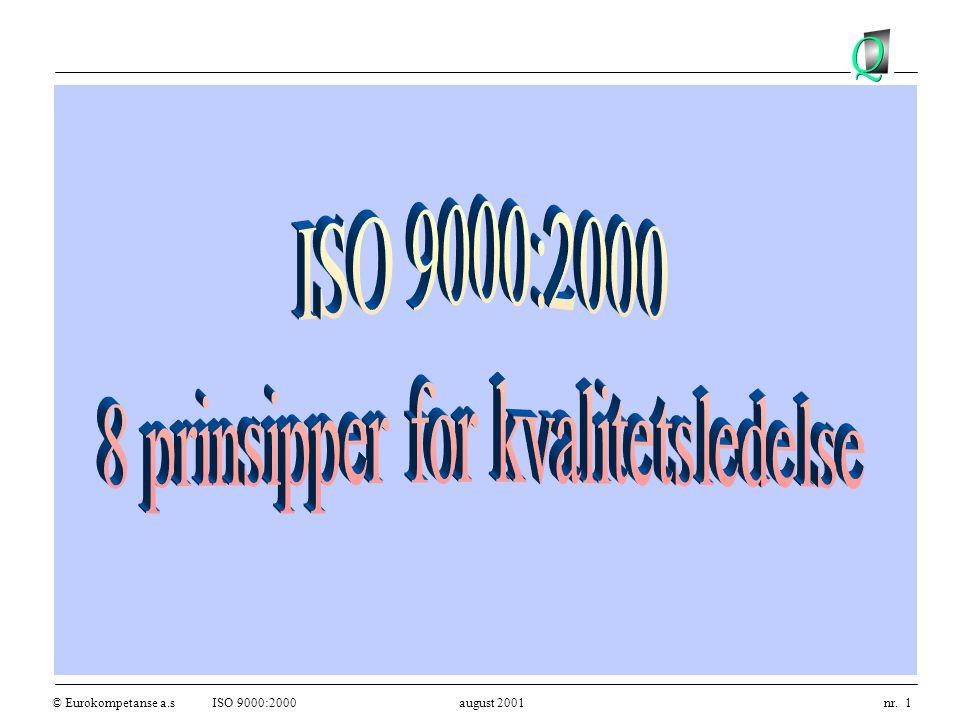 © Eurokompetanse a.sISO 9000:2000 august 2001 nr. 1