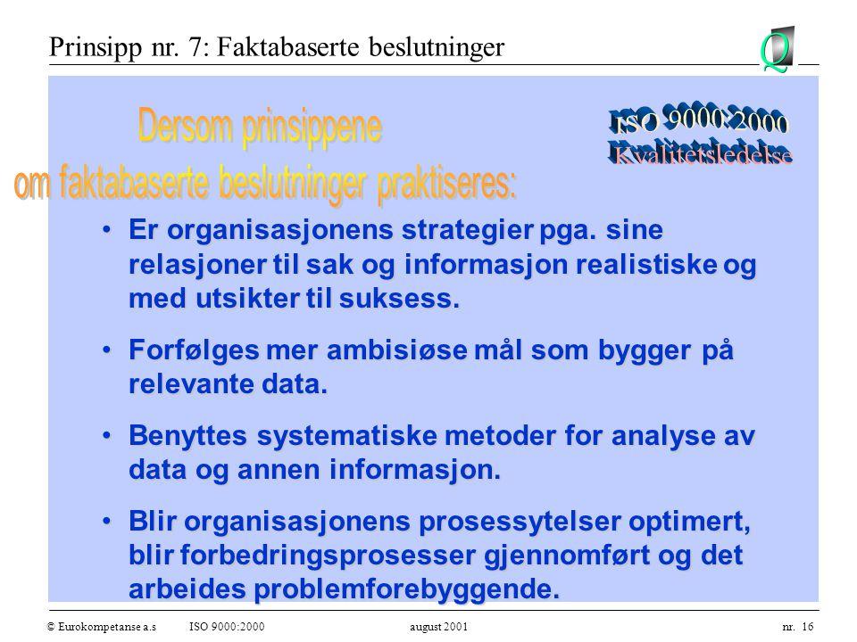 © Eurokompetanse a.sISO 9000:2000 august 2001 nr. 16 Er organisasjonens strategier pga.