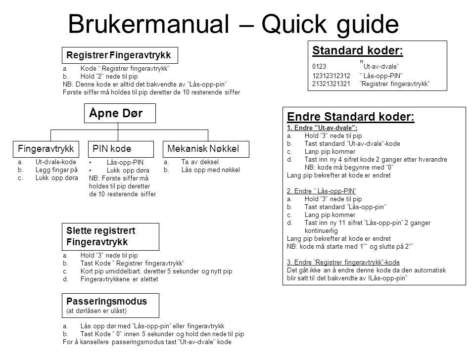 Brukermanual – Quick guide Åpne Dør FingeravtrykkPIN kodeMekanisk Nøkkel a.Ut-dvale-kode b.Legg finger på c.Lukk opp døra Lås-opp-PIN Lukk opp døra NB