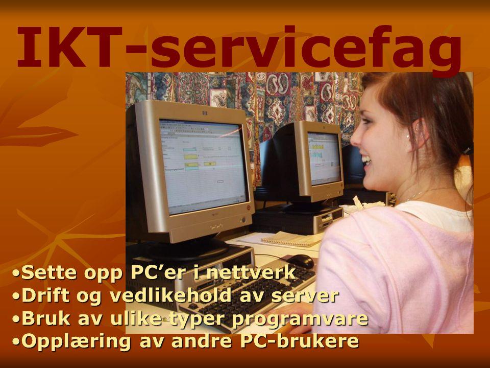IKT-servicefag Sette opp PC'er i nettverkSette opp PC'er i nettverk Drift og vedlikehold av serverDrift og vedlikehold av server Bruk av ulike typer programvareBruk av ulike typer programvare Opplæring av andre PC-brukereOpplæring av andre PC-brukere