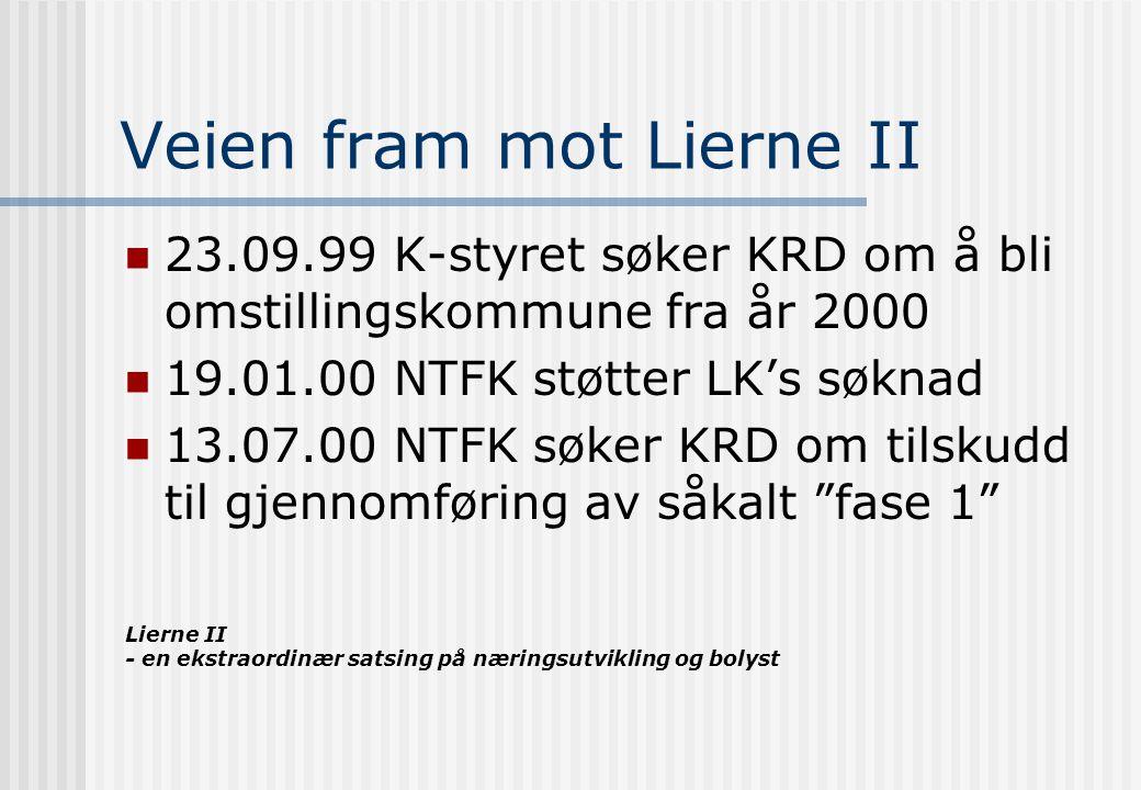 Lierne II - en ekstraordinær satsing på næringsutvikling og bolyst Veien fram mot Lierne II, fortsettelse 12.10.00 KRD avslår søknaden 30.11.00 Forstudie utarbeides som grunnlag for videre forhandlinger 04.12.00 LK, FMNT, NTFK møter KRD, LD og MD i Oslo KONKLUSJON: Utfordringene må løses på regionalt / lokalt nivå.