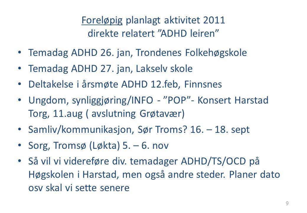 "Foreløpig planlagt aktivitet 2011 direkte relatert ""ADHD leiren"" Temadag ADHD 26. jan, Trondenes Folkehøgskole Temadag ADHD 27. jan, Lakselv skole Del"