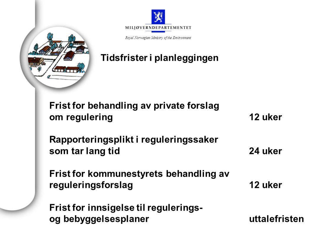Royal Norwegian Ministry of the Environment Frist for behandling av private forslag om regulering Når det kommer inn private reguleringsforslag, skal det faste utvalget for plansaker selv snarest mulig og innen 12 uker behandle forslaget.