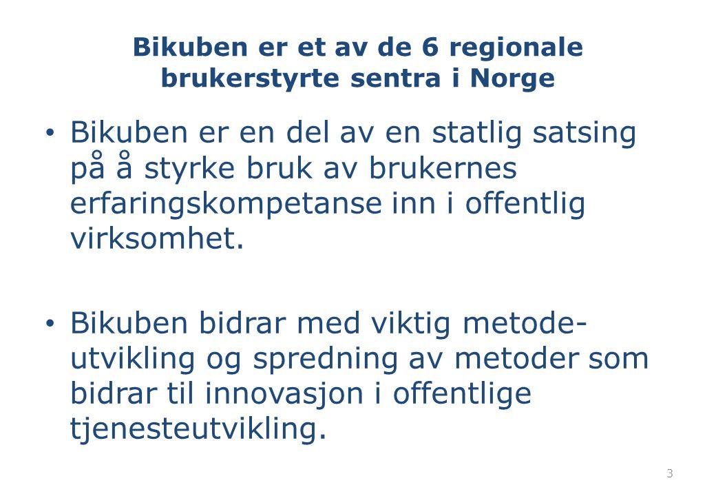 Bikuben er et av de 6 regionale brukerstyrte sentra i Norge Bikuben er en del av en statlig satsing på å styrke bruk av brukernes erfaringskompetanse inn i offentlig virksomhet.