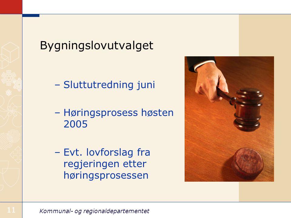 Kommunal- og regionaldepartementet 11 Bygningslovutvalget –Sluttutredning juni –Høringsprosess høsten 2005 –Evt.