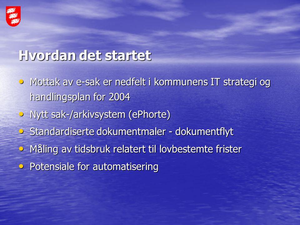 Hvordan det startet Mottak av e-sak er nedfelt i kommunens IT strategi og handlingsplan for 2004 Mottak av e-sak er nedfelt i kommunens IT strategi og