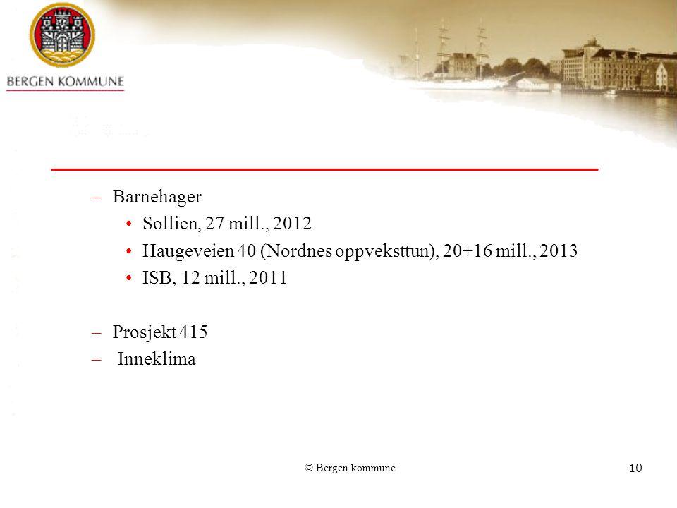 © Bergen kommune10 –Barnehager Sollien, 27 mill., 2012 Haugeveien 40 (Nordnes oppveksttun), 20+16 mill., 2013 ISB, 12 mill., 2011 –Prosjekt 415 – Inne