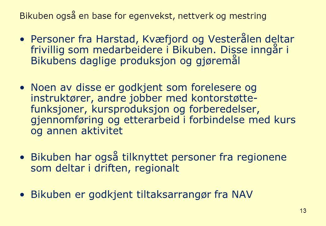 13 Bikuben også en base for egenvekst, nettverk og mestring Personer fra Harstad, Kvæfjord og Vesterålen deltar frivillig som medarbeidere i Bikuben.