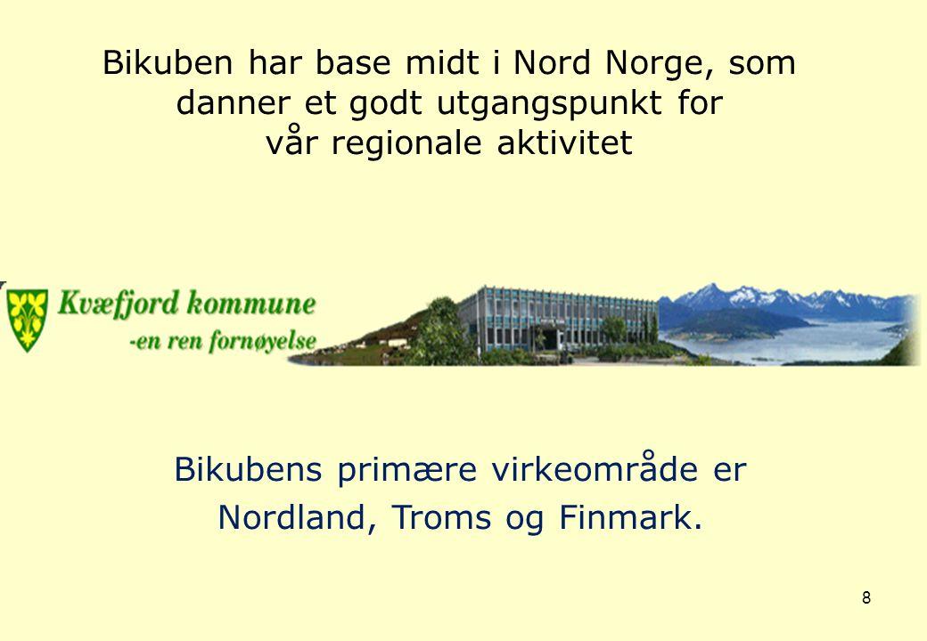 8 Bikubens primære virkeområde er Nordland, Troms og Finmark. Bikuben har base midt i Nord Norge, som danner et godt utgangspunkt for vår regionale ak