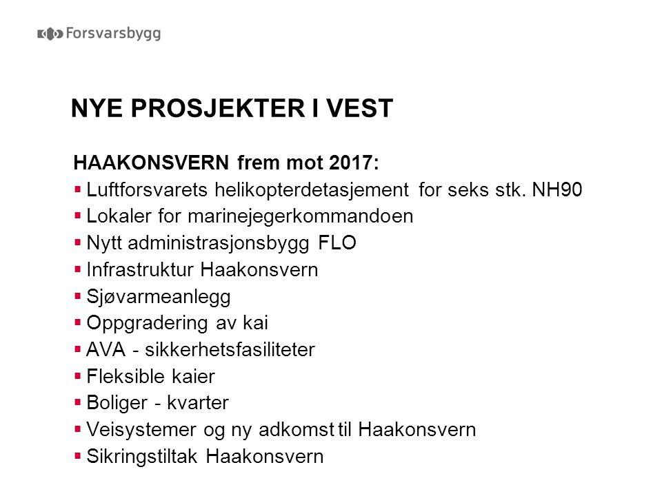 NYE PROSJEKTER I VEST HAAKONSVERN frem mot 2017:  Luftforsvarets helikopterdetasjement for seks stk. NH90  Lokaler for marinejegerkommandoen  Nytt