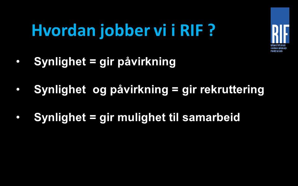 Hvordan jobber vi i RIF ? Synlighet = gir påvirkning Synlighet og påvirkning = gir rekruttering Synlighet = gir mulighet til samarbeid