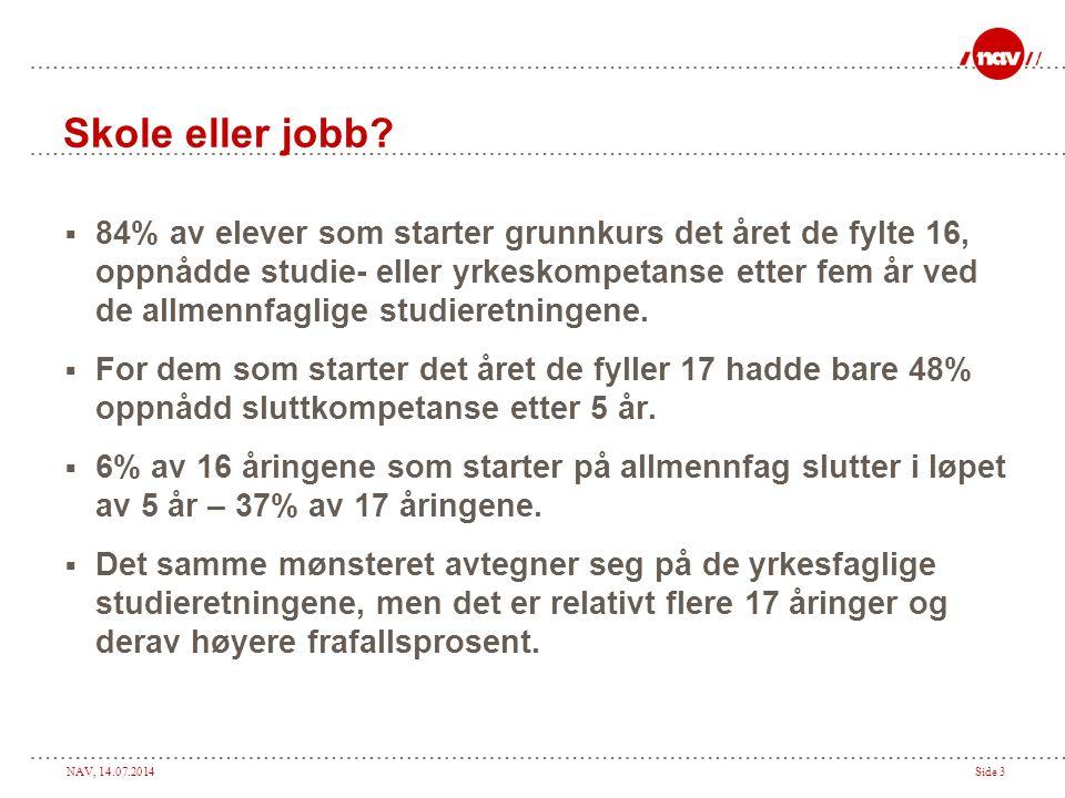NAV, 14.07.2014Side 4 Skole eller jobb. Gjennomstrømning i videregående opplæring: – Gk.