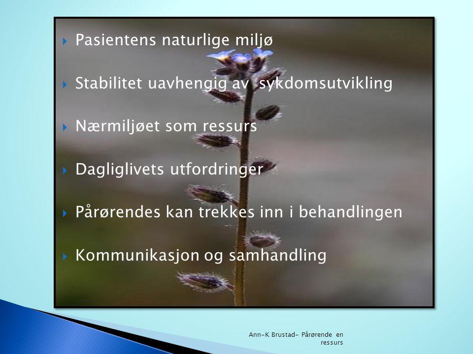  Pasientens naturlige miljø  Stabilitet uavhengig av sykdomsutvikling  Nærmiljøet som ressurs  Dagliglivets utfordringer  Pårørendes kan trekkes