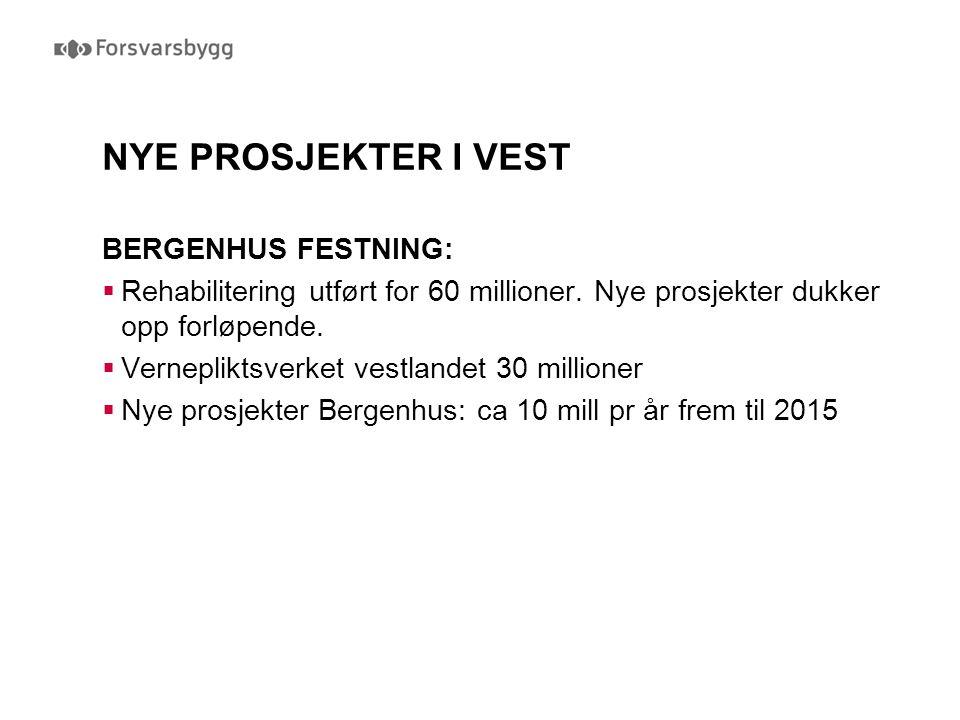 NYE PROSJEKTER I VEST BERGENHUS FESTNING:  Rehabilitering utført for 60 millioner. Nye prosjekter dukker opp forløpende.  Vernepliktsverket vestland