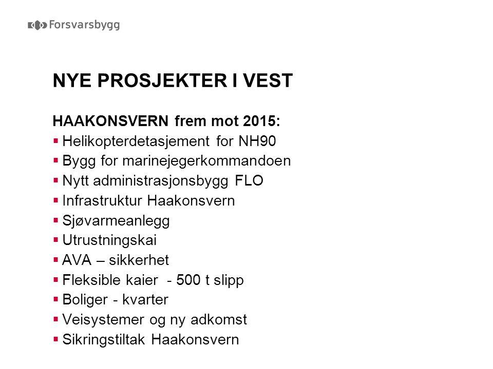 NYE PROSJEKTER I VEST HAAKONSVERN frem mot 2015:  Helikopterdetasjement for NH90  Bygg for marinejegerkommandoen  Nytt administrasjonsbygg FLO  In