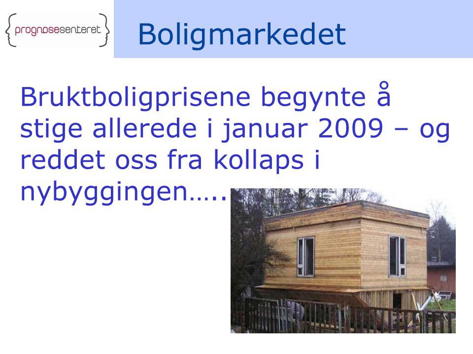 Bruktboligprisene begynte å stige allerede i januar 2009 – og reddet oss fra kollaps i nybyggingen….. Boligmarkedet