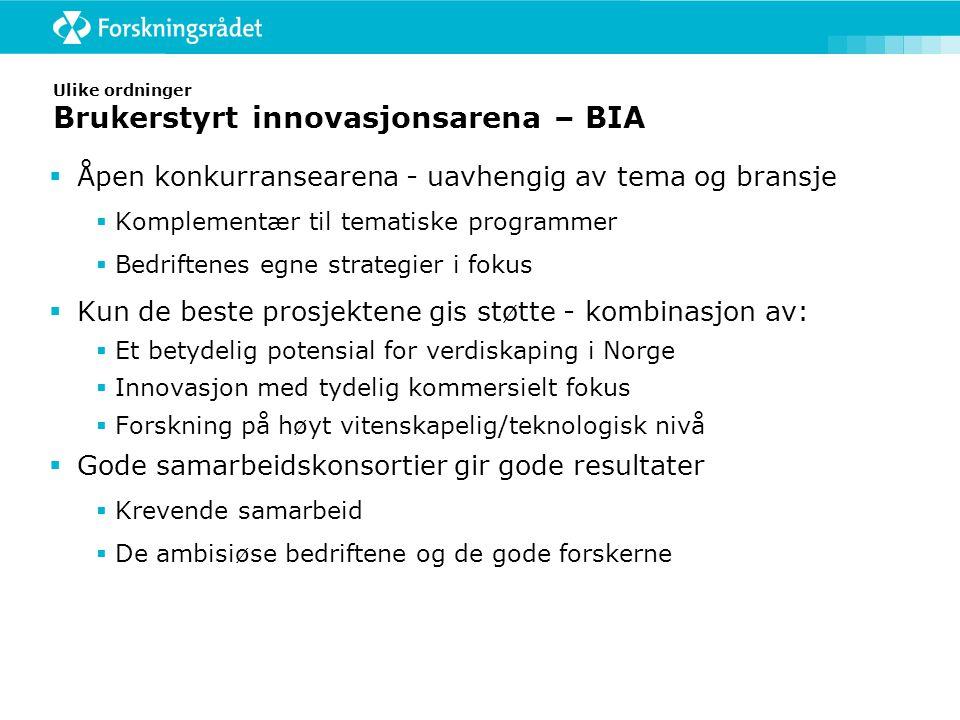Ulike ordninger Brukerstyrt innovasjonsarena – BIA  Åpen konkurransearena - uavhengig av tema og bransje  Komplementær til tematiske programmer  Bedriftenes egne strategier i fokus  Kun de beste prosjektene gis støtte - kombinasjon av:  Et betydelig potensial for verdiskaping i Norge  Innovasjon med tydelig kommersielt fokus  Forskning på høyt vitenskapelig/teknologisk nivå  Gode samarbeidskonsortier gir gode resultater  Krevende samarbeid  De ambisiøse bedriftene og de gode forskerne