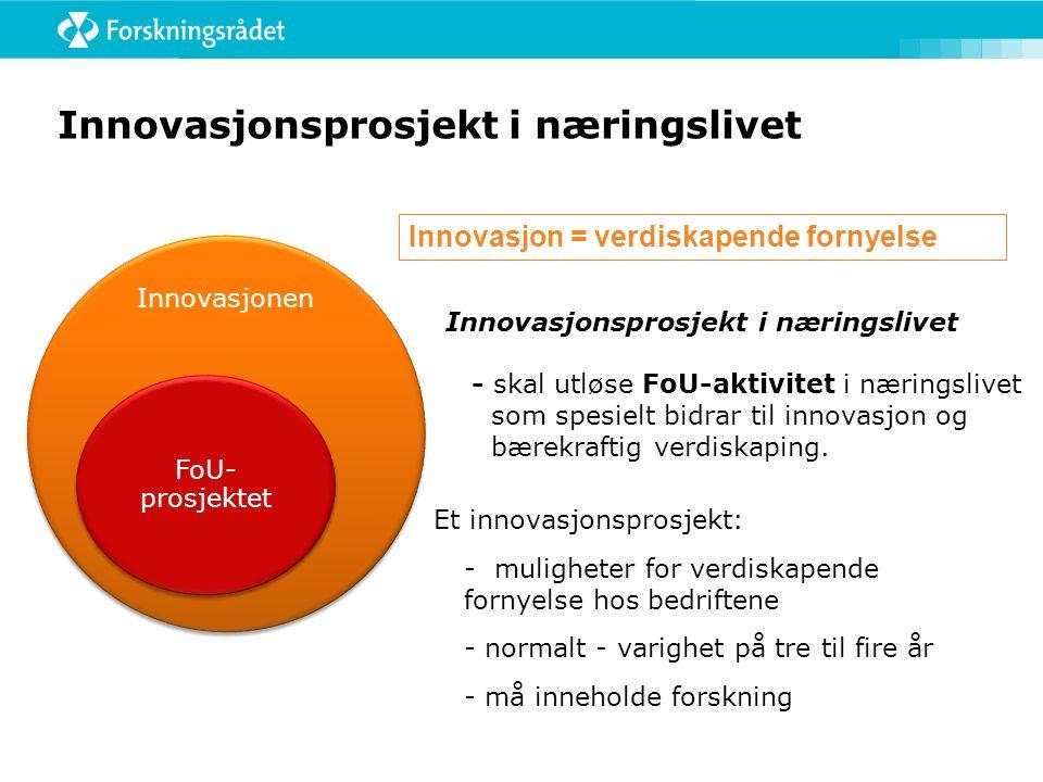 Innovasjonsprosjekt i næringslivet - skal utløse FoU-aktivitet i næringslivet som spesielt bidrar til innovasjon og bærekraftig verdiskaping. Innovasj
