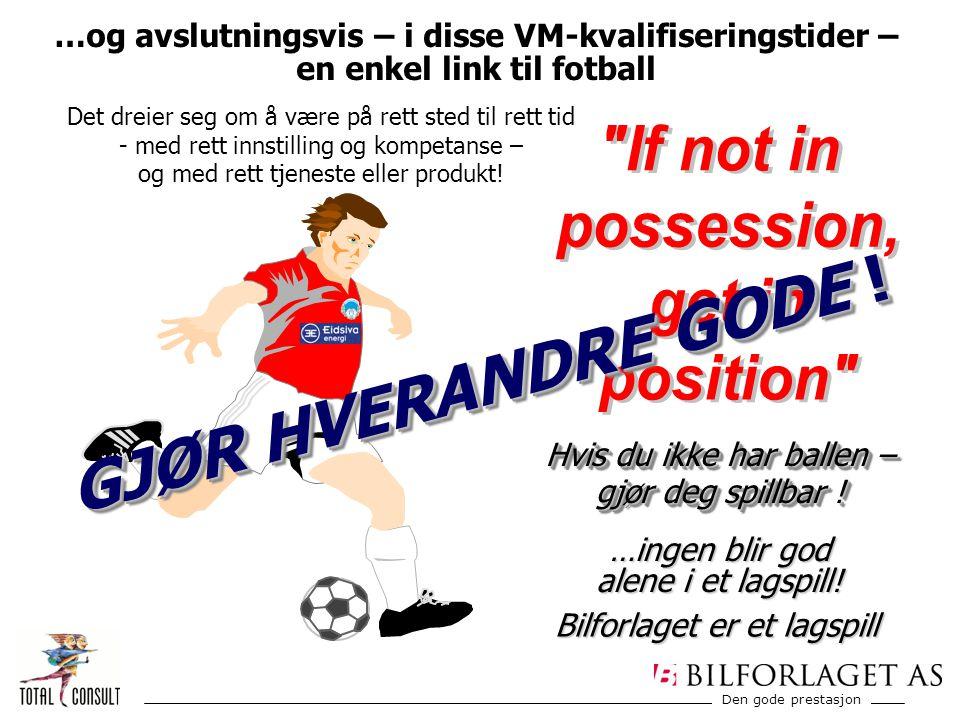 Den gode prestasjon Hvis du ikke har ballen – gjør deg spillbar ! Hvis du ikke har ballen – gjør deg spillbar ! Det dreier seg om å være på rett sted