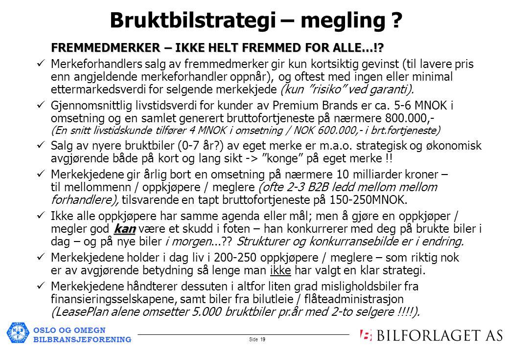 OSLO OG OMEGN BILBRANSJEFORENING Side 19 Bruktbilstrategi – megling .