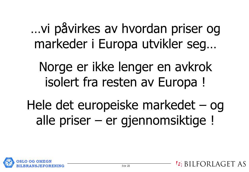 OSLO OG OMEGN BILBRANSJEFORENING Side 23 …vi påvirkes av hvordan priser og markeder i Europa utvikler seg… Norge er ikke lenger en avkrok isolert fra resten av Europa .