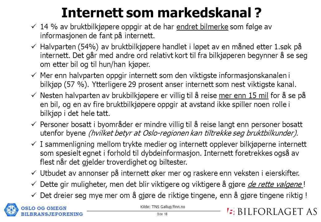 OSLO OG OMEGN BILBRANSJEFORENING Side 18 Internett som markedskanal .