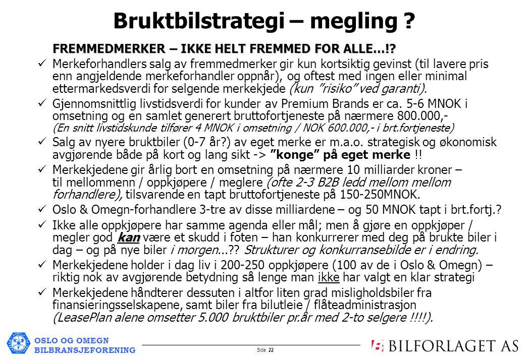 OSLO OG OMEGN BILBRANSJEFORENING Side 22 Bruktbilstrategi – megling .