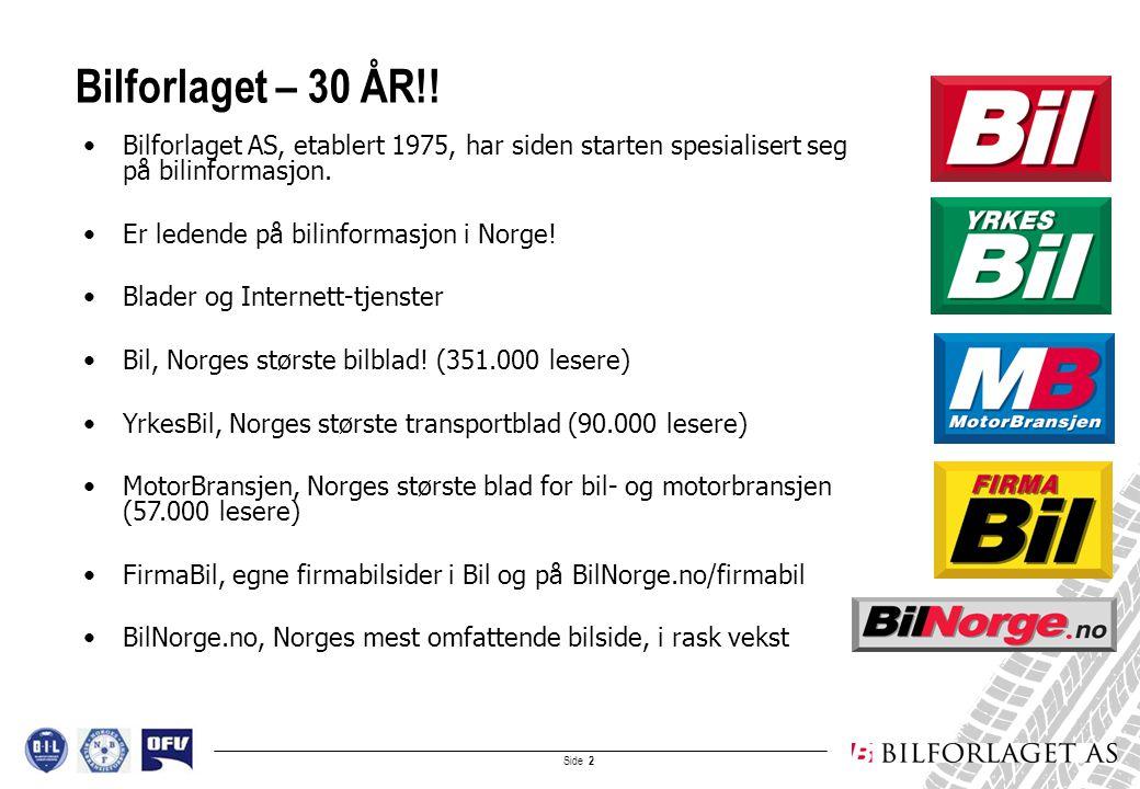 Side 3 Bilinfo.no etablert med bilstoff, juni 1996 Samarbeidsavtale med B.I.L og OFV, oktober 1998 - Eksklusiv bruktbildatabase for merkeforhandlere (B.I.L) - Nybildatabase (OFV) carWEB valgt som samarbeidspartner/software, mars 1999 BilNorge.no lansert med bruktbiler/nybiler/bilnyheter, februar 2000 Samarbeidsavtale med NBF, mars 2004 - Felles bransjestandarder for å oppnå rasjonelle og kostnadseffektive løsninger for administrasjon og markedsføring av brukte biler fra NBF-FORHANDLERE på Internett Historikk og bransjesamarbeid: