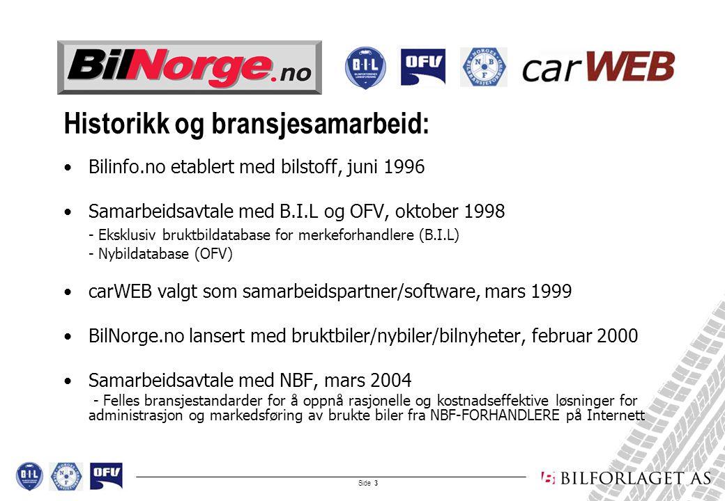 Side 4 Plattformen: carWEB-BilNorge.no carWEB-BilNorge.no anbefales av B.I.L og NBF som plattform for salg av bruktbiler på Internett Fra carWEB-BilNorge-plattformen kan forhandlere også annonsere bruktbiler til andre kommersielle internettsider, aviser og salgskanaler, bl.a.: –Finn –Zett –Bilguiden –Autobørsen –TV2 Torget –Regionaviser –Lokalaviser