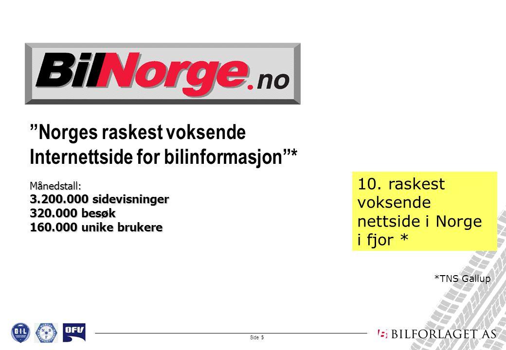 Side 6 Bruktbiler, ca 19.000 til salgs fra 500 norske merkeforhandlere Priser og tekniske data/spesifikasjoner på alle nye biler på markedet: ca 3.000 varianter (i samarbeid med OFV) 2.000 brukte yrkesbiler til salgs Egen PrivatSalg-base tilgjengelig for forbrukerne På-ruta-snittpriser (med 500 forhandlere (50.000 biler i fjor) som grunnlag) Bruktbilguide Oversikt over alle norske merkeforhandlere og link til brukt- og nybil Alt om bil (og bruktbil) på en side:
