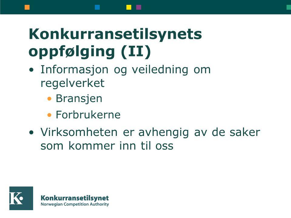 Konkurransetilsynets oppfølging (II) Informasjon og veiledning om regelverket Bransjen Forbrukerne Virksomheten er avhengig av de saker som kommer inn