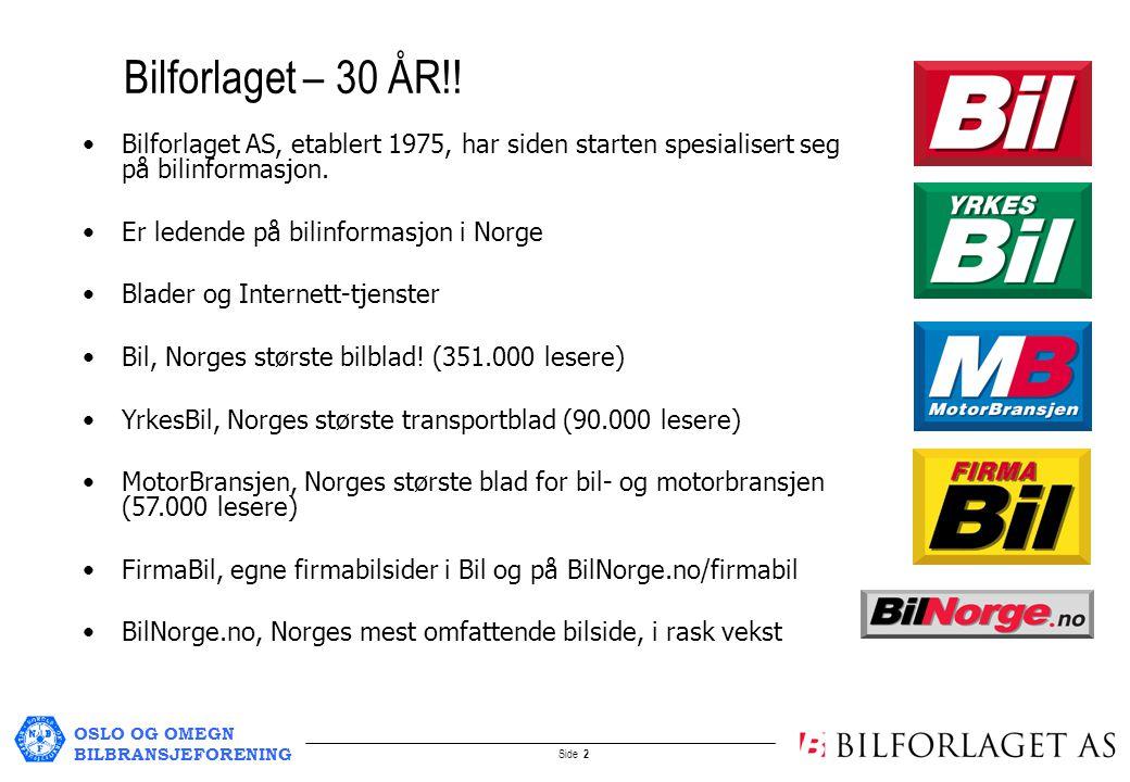 OSLO OG OMEGN BILBRANSJEFORENING Side 3 Bilinfo.no etablert juni 1996 med bilstoff Samarbeidsavtale med B.I.L og OFV, oktober 1998 - eksklusiv bruktbildatabase for merkeforhandlere (B.I.L) - nybildatabase (OFV) carWEB valgt som samarbeidspartner/software, mars 1999 BilNorge.no lansert februar 2000 med bruktbiler/nybiler/bilnyheter Samarbeidsavtale med NBF mars 2004 - Felles bransjestandarder for å oppnå rasjonelle og kostnadseffektive løsninger for administrasjon og markedsføring av brukte biler fra NBF-FORHANDLERE på Internett Historikk og samarbeid: