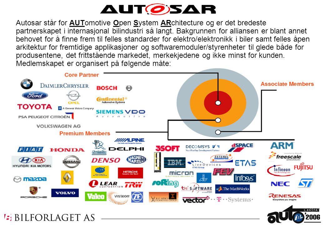 Autosar står for AUTomotive Open System ARchitecture og er det bredeste partnerskapet i internasjonal bilindustri så langt.