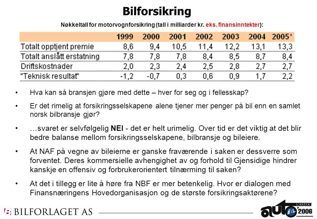 Nøkkeltall for motorvognforsikring (tall i milliarder kr.