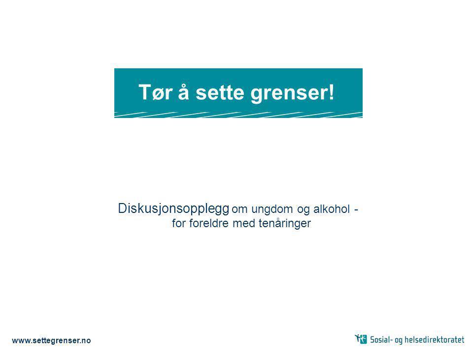 Diskusjonsopplegg om ungdom og alkohol - for foreldre med tenåringer www.settegrenser.no Tør å sette grenser!